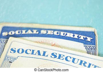 azul, nós, closeup, cartões seguro social