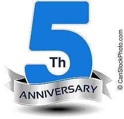 azul, número, anos, aniversário, vetorial, 5, prata, fita