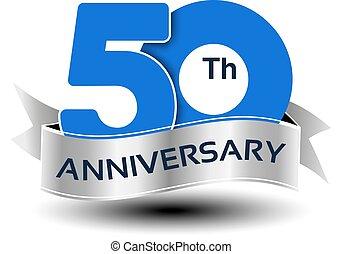 azul, número, anos, aniversário, vetorial, prata, fita, 50