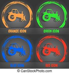 azul, na moda, modernos, laranja, vetorial, trator, verde, icon., style., vermelho, design.