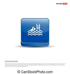 azul, natação, botão, -, ícone, 3d