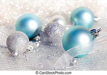 azul, natal, bolas