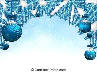 azul, natal, fundo, com, baubles