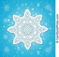 azul, natal, fundo, snowflake