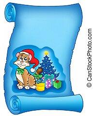 azul, natal, pergaminho, gato