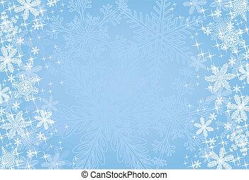 azul, natal, snowflake, fundo