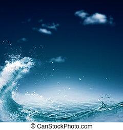 azul, natural, abstratos, fundos, profundo, desenho, mar, seu