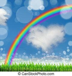 azul, naturaleza, primavera, cielo, espalda, Plano de fondo, pasto o césped