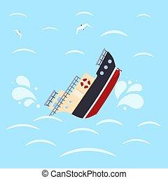 azul, naufrágio, experiência., catastrophe., imagem, ilustração, cor, vetorial, desenho, mar, navio, waves.