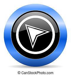 azul, navegação, lustroso, ícone