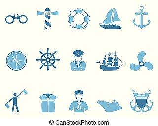 azul, navegación, iconos, conjunto