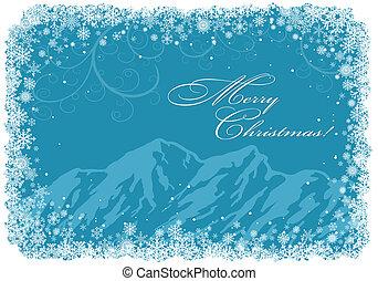 azul, navidad, plano de fondo, con, montañas
