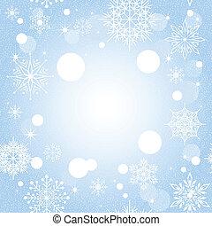 azul, navidad, plano de fondo, copo de nieve