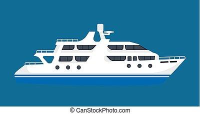azul, navio linha regular passageiro, isolado, fundo,...