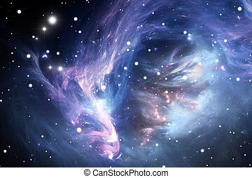 azul, nebulosa, espaço