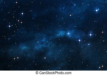 azul, nebulosa, espaço, fundo