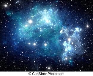 azul, nebulosa, estrella, espacio