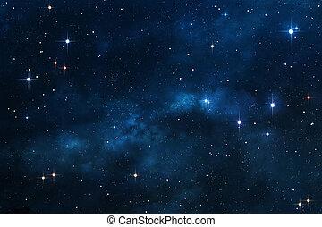 azul, nebulosa, fundo, espaço