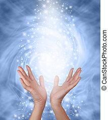 azul, nebuloso, energia, cura, cintilante