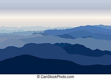 azul, nebuloso, montanhas, floresta, vector., paisagem