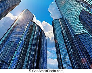 azul, negócio, edifícios