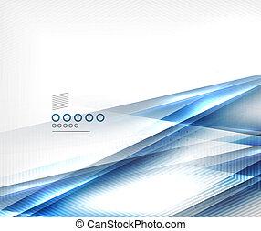 azul, negócio, linhas, movimento, vetorial, modelo, borrão