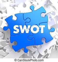 azul, negócio, quebra-cabeça, pieces., concept., swot