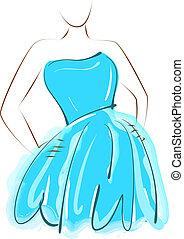 azul, niña, vestido, el bosquejar