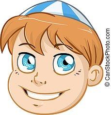 azul, niño, cabeza, kippah, judío, blanco