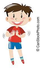 azul, niño, poco, camisa, calzoncillos, rojo