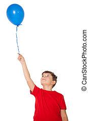 azul, niño, poco, globo, tenencia, feliz