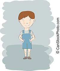azul, niño, poco, vector, calzoncillos