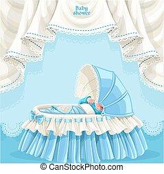 azul, niño, tarjeta, ducha, bebé