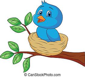 azul, nido, caricatura, pájaro