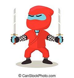 azul, ninja, segurando, dual, espada
