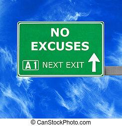 azul, no, cielo claro, contra, señal, excusas, camino