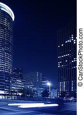azul, noche, ciudad enciende, y, edificios, en, houston