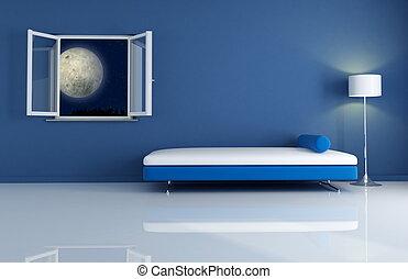 azul, noche, interior
