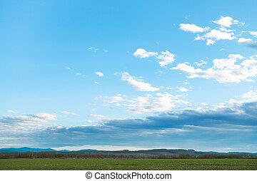 azul, noite, inverno, primavera, sobre, céu, colheita, campos