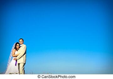 azul, noite, natural, espaço, par, céu, contra, casório, cópia