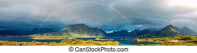 azul, noruega, mar, panorámico, summer., colinas, arco irirs, cielo, foto