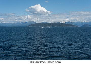 azul, noruego, paisaje, tonos