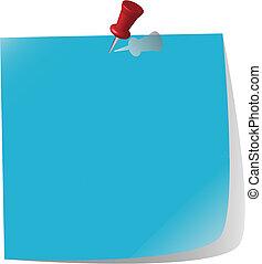 azul, nota, fixado, papel
