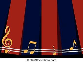 azul, nota, música, fundo, marinha, vermelho