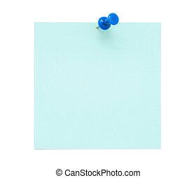 azul, nota, poste, em branco