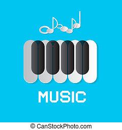 azul, notas, música, fundo, teclado, piano, abstratos