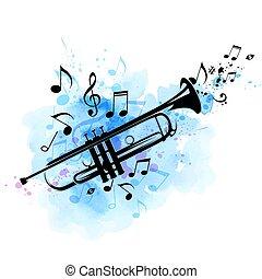 azul, notas, textura, aquarela, pretas, trompete