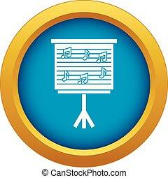 azul, notas, whiteboard, aislado, vector, música, icono