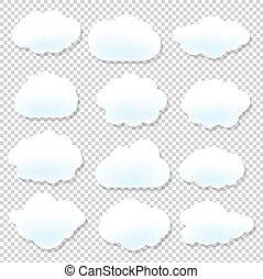 azul, nube, plano de fondo, iconos