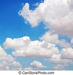 azul, nubes blancas, sky.